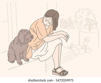 A girl sits in the yard with a cute dog. Sweet and emotional illustration. hand drawn style vector design illustrations.