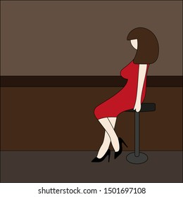 The girl sitting at the bar on the bar stool