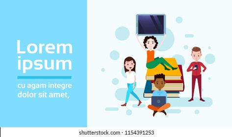 girl sitting booking stack hold tablet boy with gadgets template for design work and animation on white background full length flat horizontal copy space vector illustration