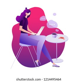 A girl sitting at cafe working on laptop. vector illustrations. character design. freelancer, blogging concept, creating content, chatting online, can use for web page, template, mobile app