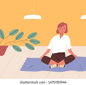 Girl sitting cross-legged on floor and meditating. Young woman practicing yoga, buddhist meditation, Pranayama breath control exercise, spiritual discipline at home. Flat cartoon vector illustration.