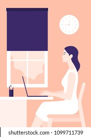 The girl is sitting at the desk in profile. Woman working with laptop. Home Office. Vector Flat Illustration