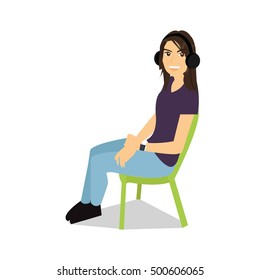 Girl sitting down - vector illustration