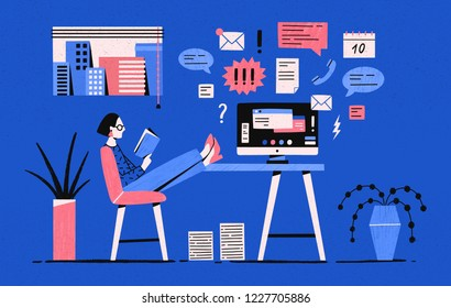 Girl sitting with her legs on desk with computer and reading book instead of working under tasks. Procrastinating woman, procrastination of office worker. Vector illustration in flat cartoon style.