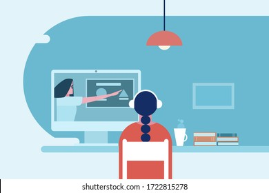 A girl, sitting in her study room at home, attends an online class room using computer and internet