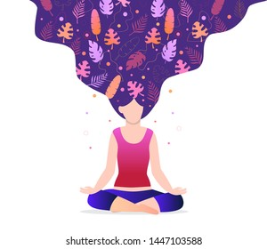 Girl is sitting in a lotus position. Bright, magic leaves are woven into hair. Trendy concept of fitness studio, meditation, self-improvement. World yoga day in 21 June.