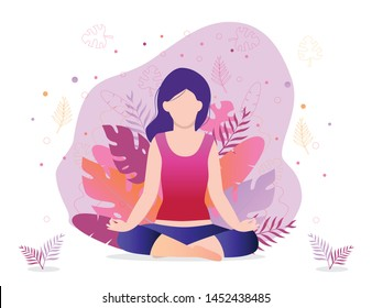 Girl is sitting in a lotus position. Trendy vector concept of fitness studio, meditation, self-improvement, controlling mind and emotions.