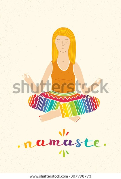 Girl Sitting In Lotus Position Yoga Illustration. Morning Meditation Bright Handmade Concept On Distressed Background.
