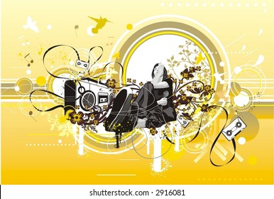girl sitting near a boombox with a microphone in her hand,surrounded by tapes, floral ornaments