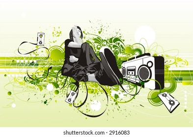girl sitting near a retro tape with a microphone in her hand,surrounded by tapes & grunge,floral ellements,party flyer design