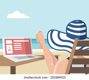 Girl sitting on the beach with her laptop - vector illustration