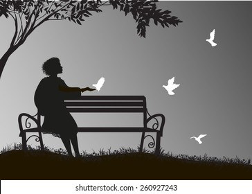 girl  sitting on the bench under the tree and feed white pigeons, shadows, memories,  silhouette