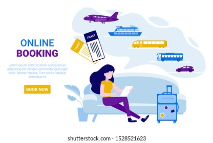 Girl sitting on the couch and orders tickets online. Airplane, bus, train, cruise ship, railway, taxi. Booking online tickets now. Flat vector concept illustration web page, banner, poster, template