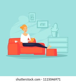 Girl is sitting on the couch reading a book, self-education. Flat design vector illustration.