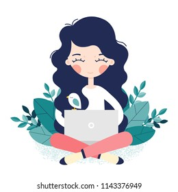 Girl sitting on the floor and working with laptop. Vector illustration
