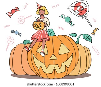 A girl is sitting on a giant pumpkin holding a pumpkin basket. Candy is floating around. hand drawn style vector design illustrations.