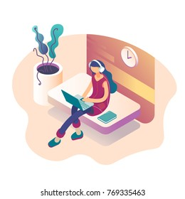 A girl sitting on the sofa works on the laptop and listens to music. Vector isometric illustration
