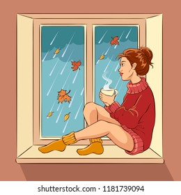 Girl sitting on a window sill, holding cup, looking out the window. Rainy weather concept. Vector comic illustration.