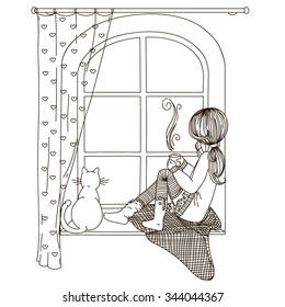 The girl is sitting on the windowsill looking out the window, with the cat in the hands of a cup of hot tea and coffee. Black and white drawing, coloring book.