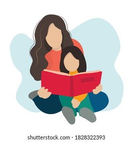 A girl sitting on a woman's lap, reading a book together