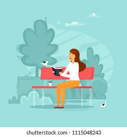 Girl is sitting in a park reading a book. Flat design vector illustration.