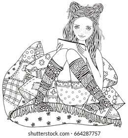 A girl is sitting and reading, using a tablet, laptop and mobile phone. Adult Coloring book page. Zentangle style. Black and white.