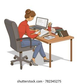 Girl is sitting at a table with a laptop, books and documents. Vector illustration.