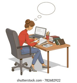 Girl is sitting at a table with a laptop and books and empty text bubble. Vector illustration.