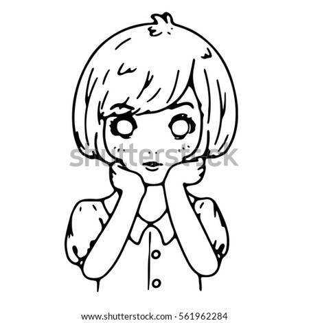 girl sitting thinking black line sketch stock vector royalty free Sitting Alone Cartoon girl sitting and thinking black line sketch design