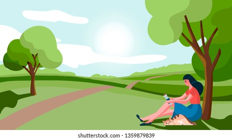 Girl sitting under a tree with cat. Young beautiful woman suffers from heat stroke, sunstroke, high temperature, sweating. Vector illustration.