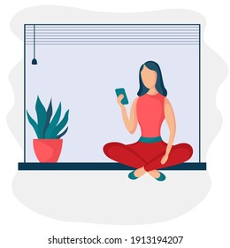 Girl sitting and working at home. Woman with phone on the windowsill. Freelance or studying concept. Female character, chatting online using smartphone, drinking hot tea or coffee