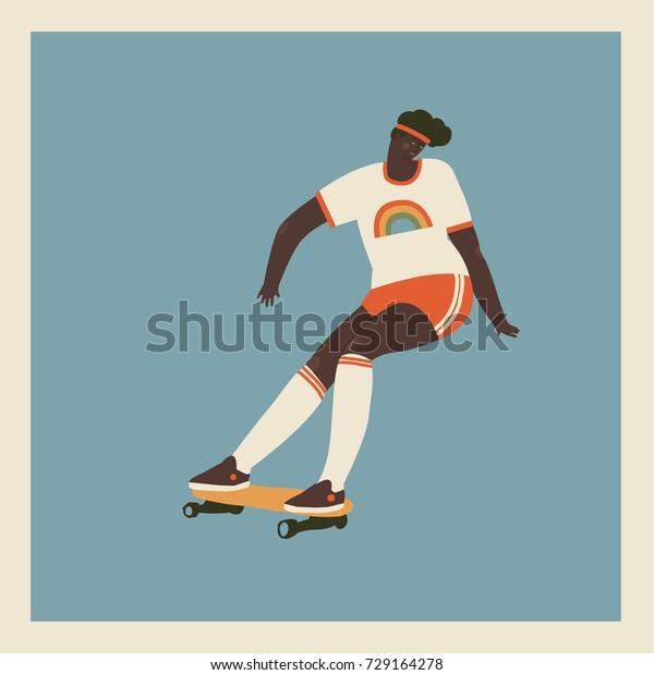 Girl skateboard rider ride longboard illustration in retro 70s style