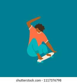 Girl skateboarder ride a skate illustration in vector. Women skateboarding poster or card.