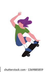 The girl skater. Flat with gradient. Beauty girl with violet hair make stunt on skateboard.  Used for flyer, banner sporting events, packing sports goods. Vector illustration isolated object.