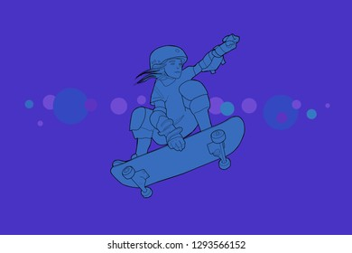 Girl skating on abstract background
