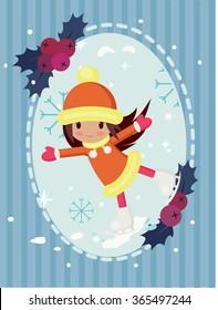 A girl skating on ice, Christmas greeting card
