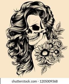 Girl with skeleton make up hand drawn vector sketch. Santa muerte woman witch portrait stock illustration