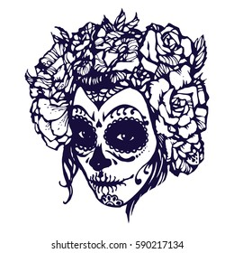 coloring book page girl with skeleton make up hand drawn vector sketch santa muerte woman witch portrait stock