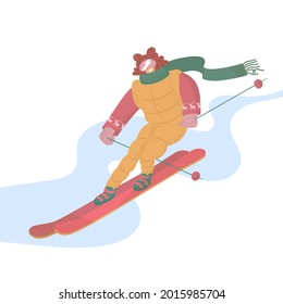 Girl is skiing. Extreme sport. Snowy. Vector illustration. Lifestyle, activity, speed, adrenaline, emotions. Winter entertainment. Isolated on blue background.