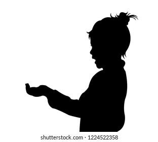 a girl sking money, beggar silhouette vector