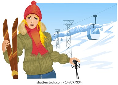 Girl with skis on the background with cable-way