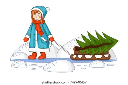 girl and a sled with a Christmas tree