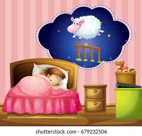 Girl sleeping in bed  illustration