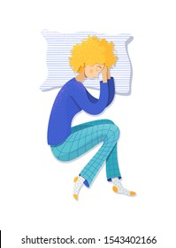 Girl sleeping on her left side vector illustration. Female curly-haired sleeper lying on pillow cartoon character. Woman wearing pajamas color drawing isolated on white background. Nighttime concept