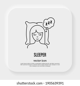Girl sleeping on pillow with zzz symbol in speech bubble. Relaxation. Thin line icon. Vector illustration.