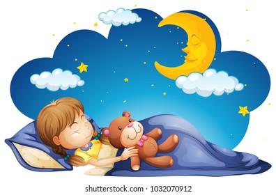 Girl sleeping with teddybear at night illustration