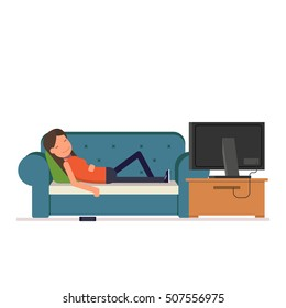The girl sleeps on the sofa watching television. Tired woman dropped her phone while you sleep. Vector, illustration EPS10.