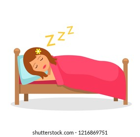 The girl sleeps sleep in bed under a blanket. Isolated vector illustration in flat cartoon style.
