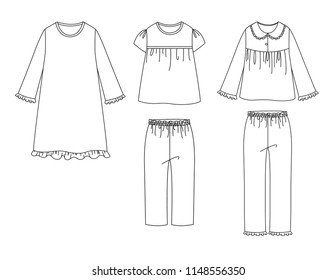 Girl sleepwear vector illustration set