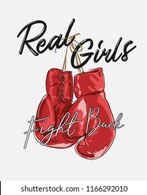 girl slogan with boxer glove illustration